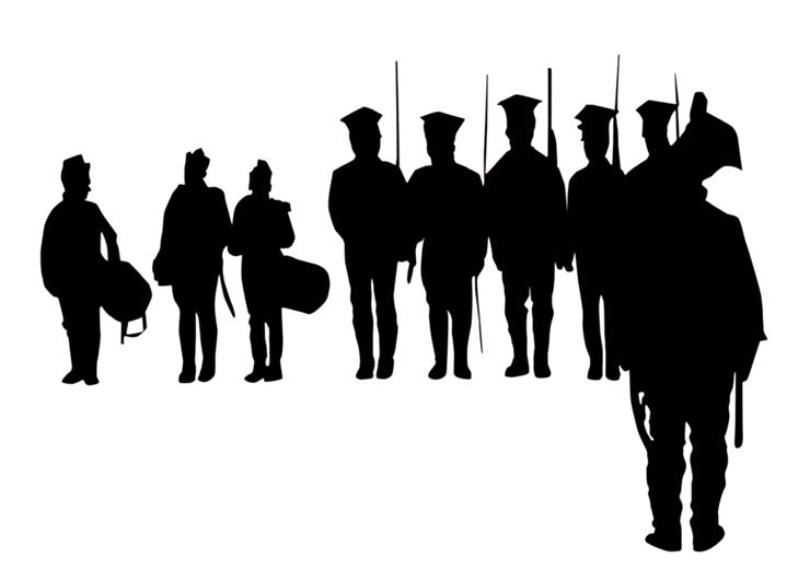 Silhouette of Soldiers and Drummers